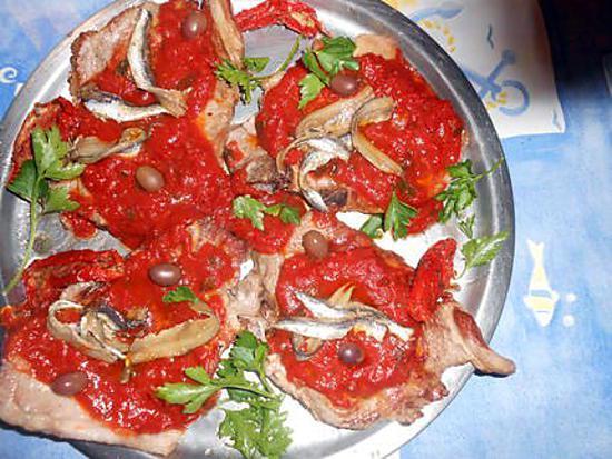 recette Cotes de porc sauce aux anchois