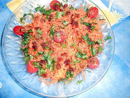 recette Carottes rapées aux raisins de corinthe