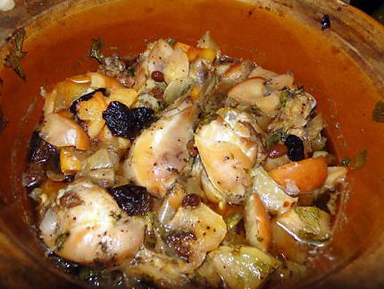 recette Poulet ivre aux fruits secs (tajine mexicaine)