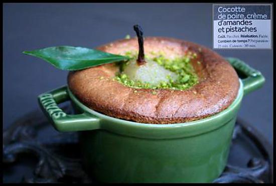 recette de mini cocottes de poire poch 233 e 233 pic 233 e sur lit d amande et pistache avec un