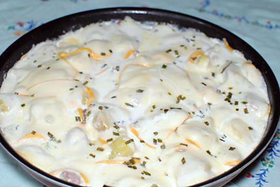 recette Poellée de pommes de terre à la raclette et à la saucisse de morteau