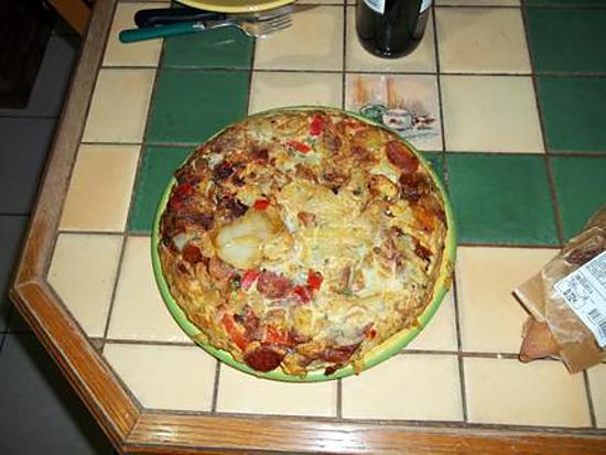 recette tortilla poivron chorizo lardon