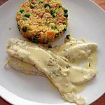 filet de sole et sa sauce citronnée safranée    avec son riz basmati et crevettes rose