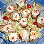 recette Frisée aux petits croutons de chévre frais