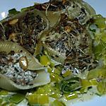 recette Conchiglies Farcis sur Lit de Poireaux, Gratinnés au Four