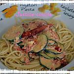 recette Pâtes aux courgettes, chorizo et tomates séchées