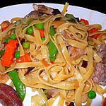 recette Tagliatelle aux porcs et petits légumes façon asiatique