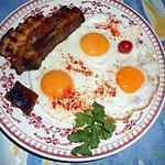 recette Oeufs au plat et poitrine de porc grillée