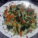 recette Spaghettis aux légumes julienne.
