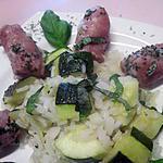 recette Saucisses de Toulouse au riz et courgette.