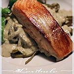 recette ~Saumon crémeux au pesto de basilic et à la ciboulette~