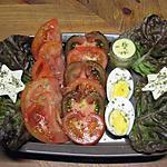 recette Entrèe de tomates variées. et oeufs durs.