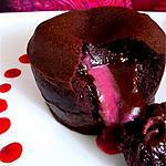 recette Fondant au chocolat noir et coeur coulant de framboise