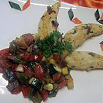 recette Aiguillettes de poulet aux dés de légumes Provençale.