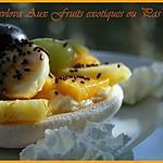 recette ** Gâteau meringué ( Pavlova ) à la crème patissières vanillée & aux fruits exotiques ou pas **