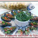 recette moules d'espagne,salpicon de légumes