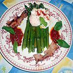 recette Asperges vertes,oeuf poché,lard grillé