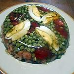 recette Anchois, crevettes, légumes, oeuf en gelée.