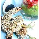 recette Crevettes croustillantes au vinécao et sésame à la plancha