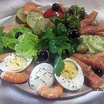 recette Assiette de crudités au saumon et crevettes.