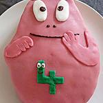recette Gâteau d'anniversaire et cupcakes barbapapa, décoration pâte d'amandes
