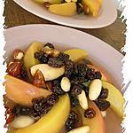 Pêche pochée , miel & fruits secs