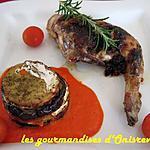 recette Cuisses de lapin à la tapenade et millefeuilles provençaux et son émulsion de poivron rouge