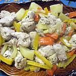 recette Sauté de dinde aux légumes anciens mijotés.