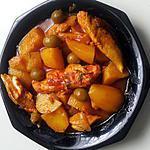 recette Délice de pomme de terre au poulet et olives .