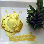 ma glace curry coco et son ananas poélé au caramel de rhum