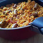 Riz poêlé aux merguez et petits pois à l'espagnole