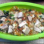 recette Brunoise de légume et porc, micro- ondes.