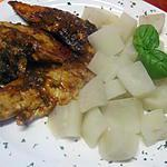 recette Aiguillettes de poulet au radis noir.