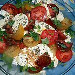 Salade de tomates multicolores a la mozarrella