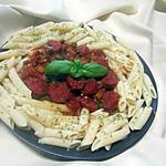 recette Chorizo aux pâtes pennes et poivrons.