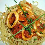 recette Calamars aux tomates et Spaghettis