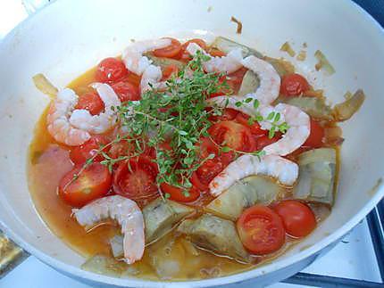 Mes spaghetti artichauts et crevettes 430