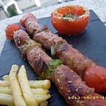 recette brochettes de chipolatas et petits légumes