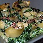 recette Conchiglies Alla Carna et Épinards à la Ricotta