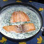 recette Saumon, sauce aux épinards et aux crevettes
