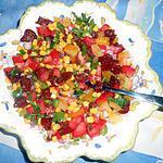 Salade de mais,raisins,tomates,poivron