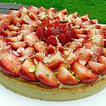 recette Tarte aux fraises à la crème d'amandes et à la crème pâtissière aromatisée à l'amaretto