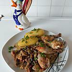 recette Pilons de poulet à la crème, aux lardons fumés, champignons et porto.