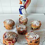 recette Muffins aux fruits rouges et pépites de chocolat.
