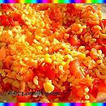 recette Salade de pâtes carottes,poivron,tomates,cacahuètes,maïs