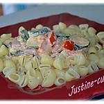 recette **Coudes rayés aux courgettes,poivrons, chorizo & chèvre**