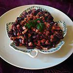 recette Poêlée lardons/jambon/haricots rouges