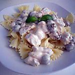 recette Farfalles sauce carbonara de poulet et olives