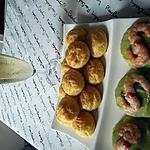 recette mises en bouche salées:ptits choux aux 2fromages,ptit palet breton -crème d'avocat-crevette