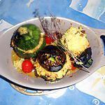 Courgette ronde farcie au riz et raisins secs